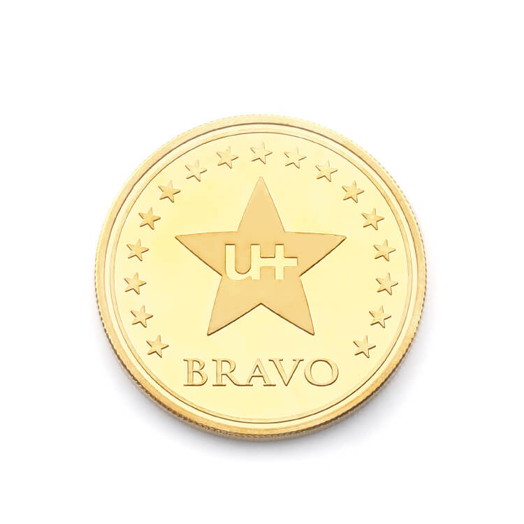 DIY Logo And Words in Center Region Casting Brass Coin for Souvenir