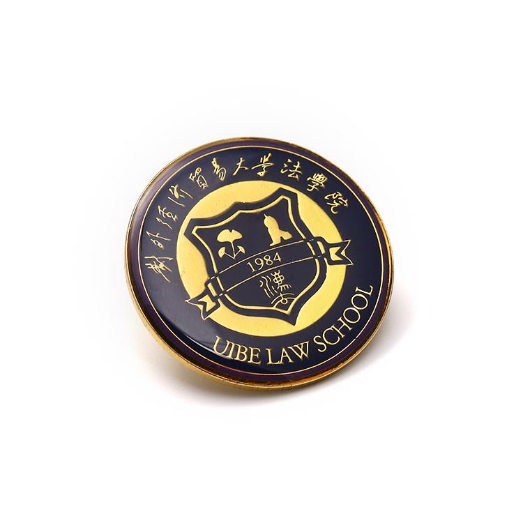 English School Alloy Badges Gold Button Metal Reel Custom Tin Badge