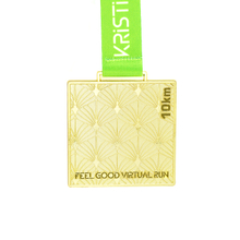 Custom Square Metal Sport Award Gold Medal with Ribbon