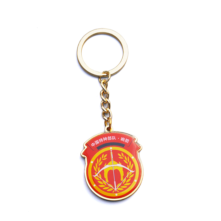 Customized Army Logos Keyrings Paper Printing Keychain with Epoxy