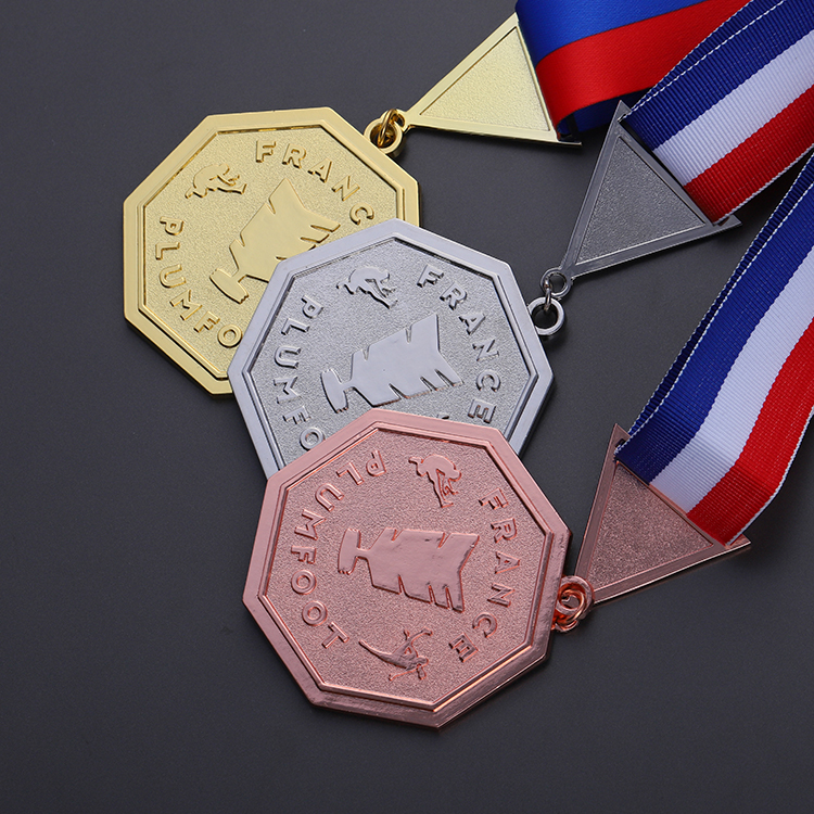 Bright Gold Zinc Alloy with Enamel Color 1st 2st 3st Medal