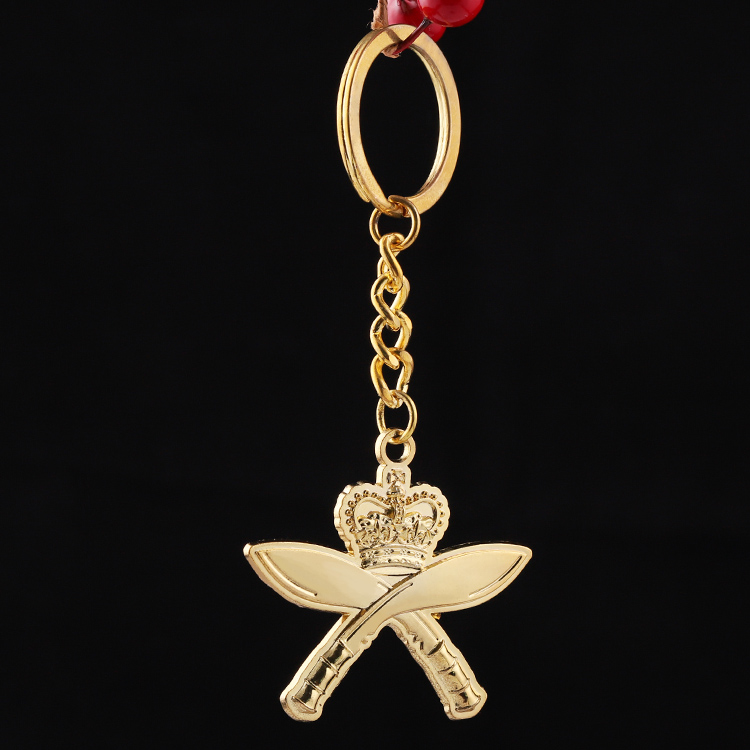 Double Broadsword Gold Engraved Keychain 3d Funny Key Holder Metal Special