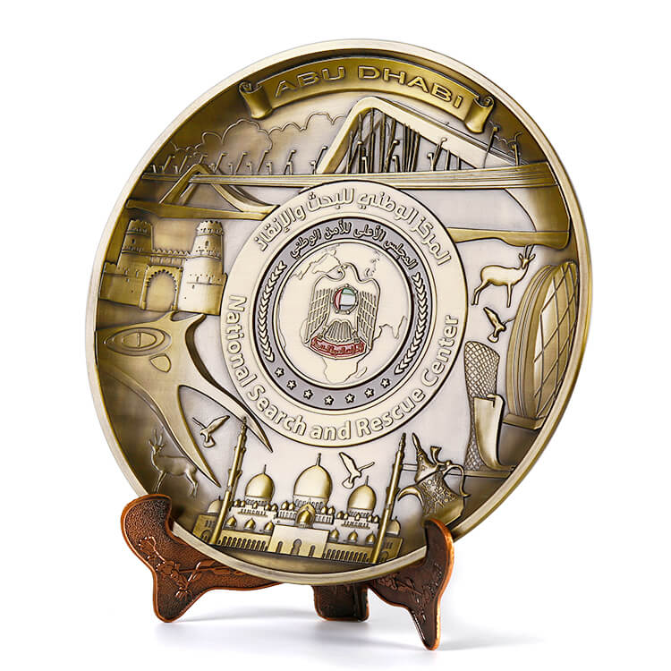 Customized 3D Antique Copper Kuwait Logos Metal Souvenir Plate