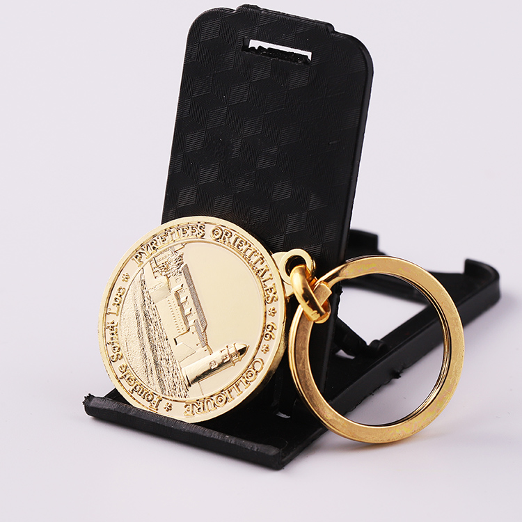 Gold Colored Customized Double Sided Sublimation Key Chain