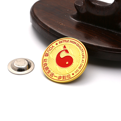 Gold Button Reel Anime Pin Badges Alloy School Circular Metal Badge